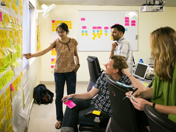 Design as you go - WHP team brainstorming ideas after an interview with a healthcare provider.
