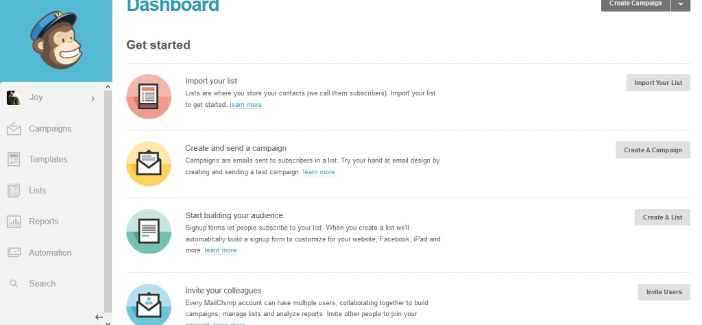 MailChimp Dashboard-list