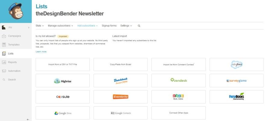 MailChimp Import Email List