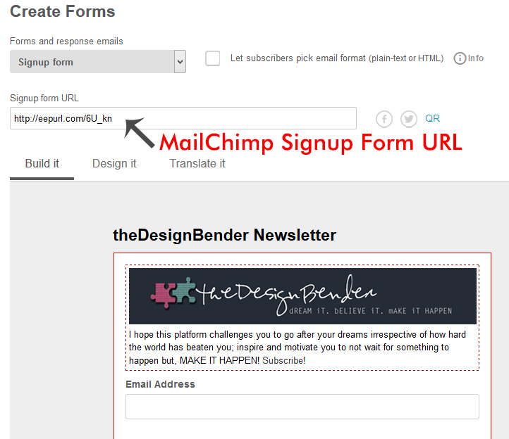MailChimp Signupform-URL