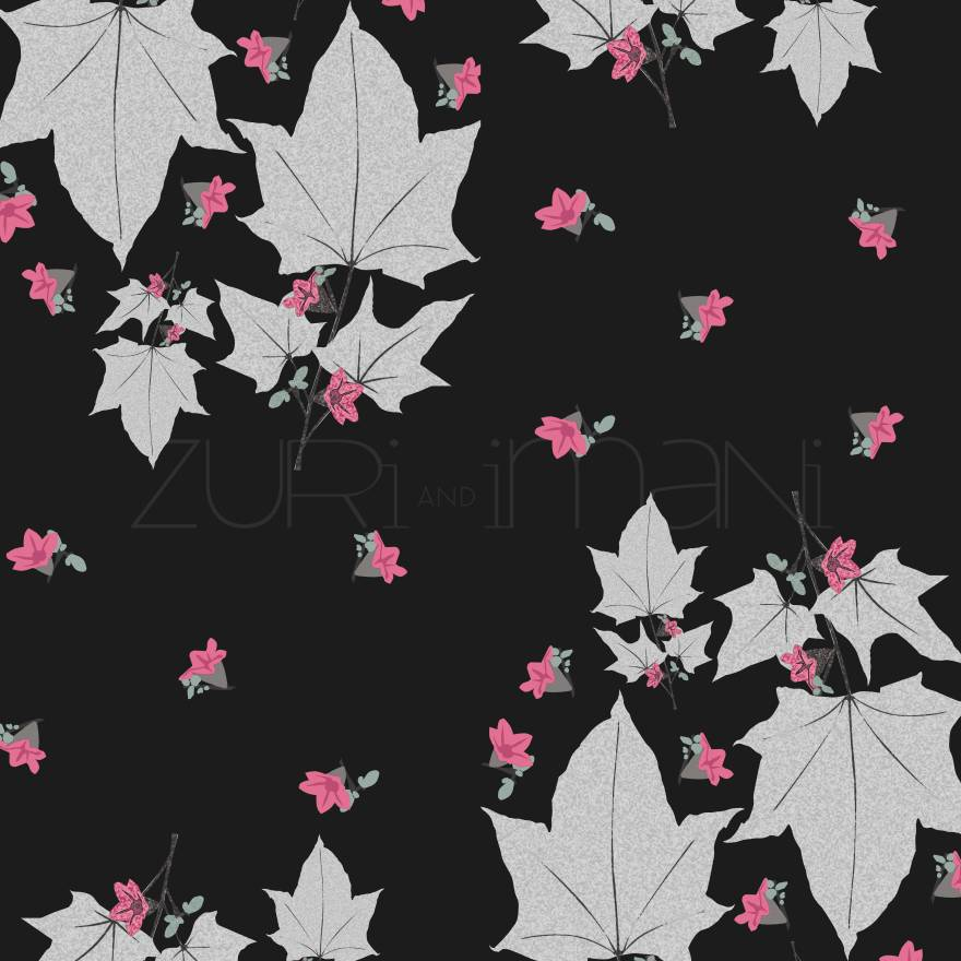 Leaf-Print-black